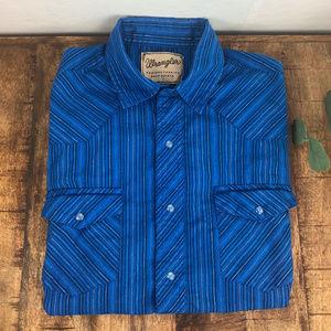 Vintage Men's Wrangler Western Shirt Blue Large